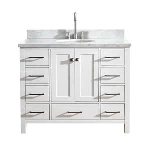 "Meuble-lavabo simple, évier ovale, 9 tiroirs, 43"", blanc"