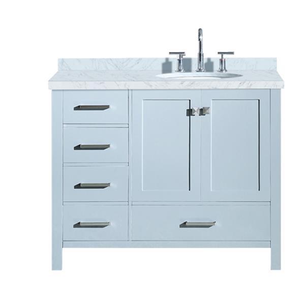 ARIEL Right Offset Single Oval Sink Vanity - 43 in. - Grey