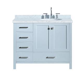 """Meuble-lavabo, évier ovale simple à droite, 43"""", gris"""