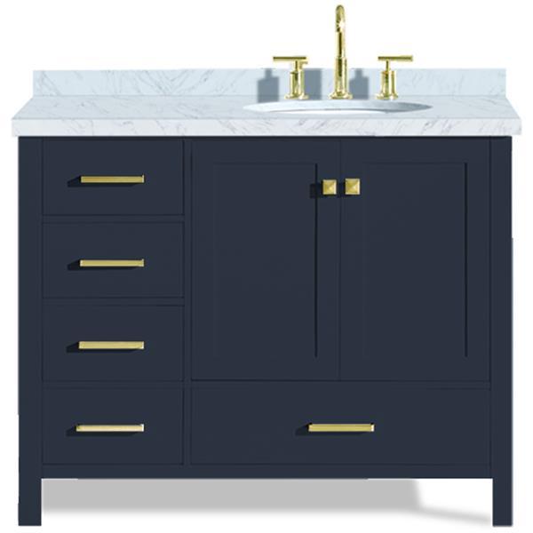 ARIEL Right Offset Single Oval Sink Vanity - 43 in. - Blue