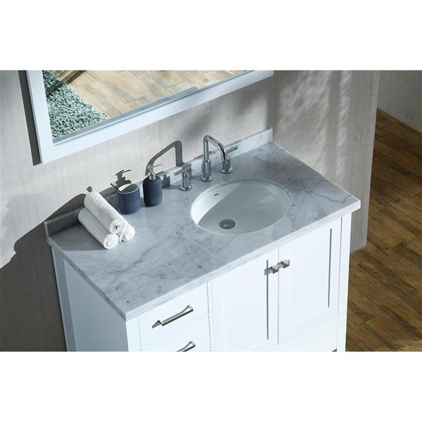 No Mirror 2 Soft Closing Doors Right Offset 5 Full Extension Dovetail Drawers ARIEL Bathroom Vanity 43 Inch with Carrara White Marble Countertop and Rectangle Sink in Espresso