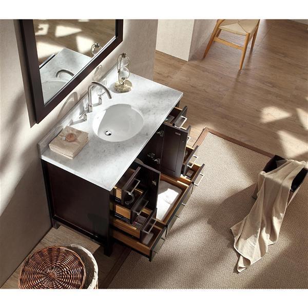 ARIEL Single Oval Sink Vanity - 9 Drawers - 43 in. - Espresso