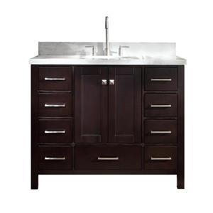 "Meuble-lavabo simple, évier ovale, 9 tiroirs 43"", espresso"