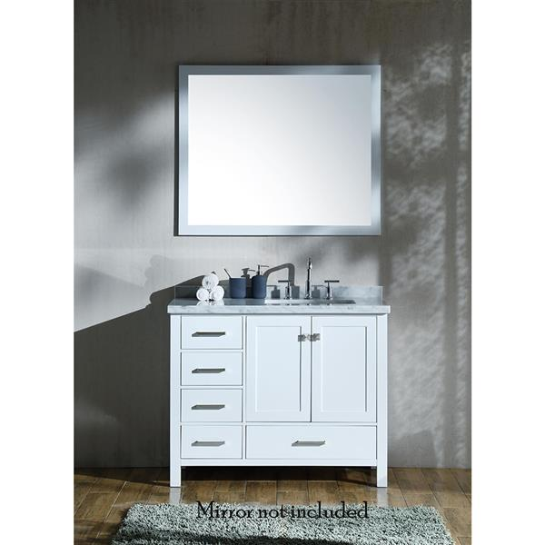ARIEL Right Offset Single Rectangle Sink Vanity - 43 in. - White