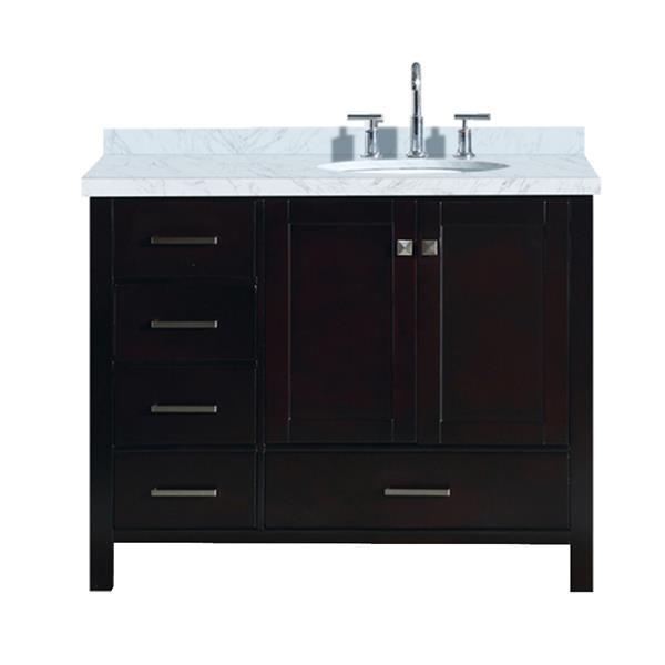 ARIEL Right Offset Single Oval Sink Vanity - 43 in. - Espresso