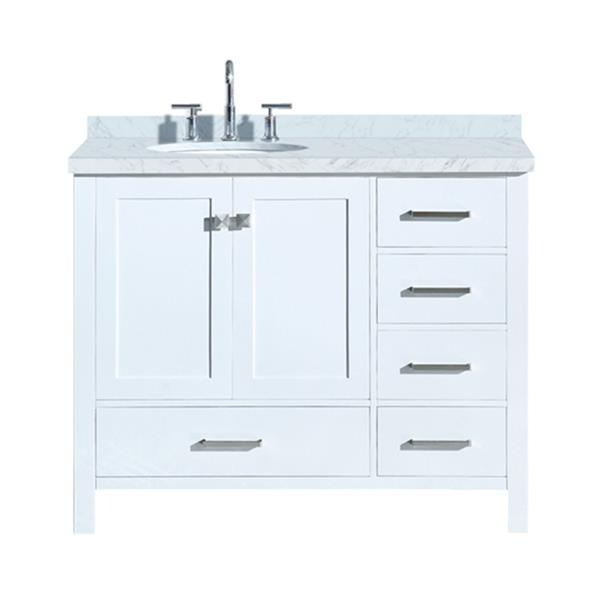 """Meuble-lavabo simple, évier ovale à gauche, 43"""", blanc"""