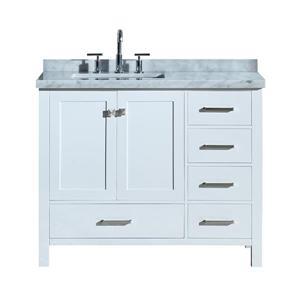 """Meuble-lavabo simple, évier à gauche, 43"""", blanc"""