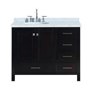 """Meuble-lavabo simple, évier ovale à gauche, 43"""", espresso"""