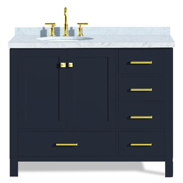 ARIEL Left Offset Single Oval Sink Vanity - 43 in. - Blue