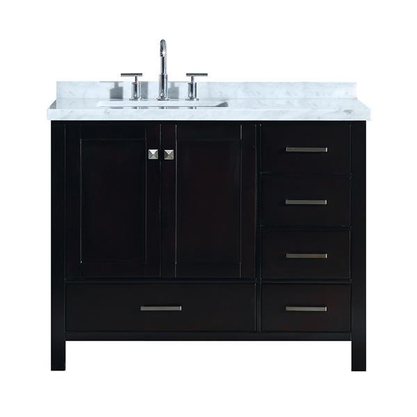 """Meuble-lavabo simple, évier à gauche, 43"""", espresso"""
