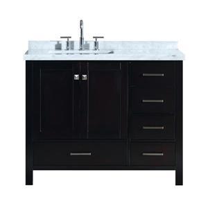 ARIEL Left Offset Single Rectangle Sink Vanity - 43 in. - Espresso