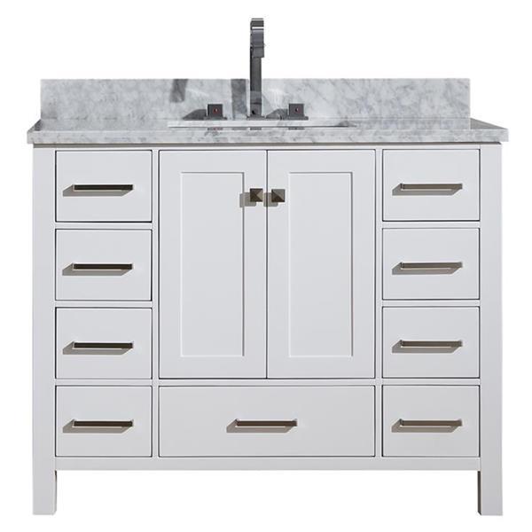 """Meuble-lavabo simple, évier rectangulaire, 43"""", blanc"""