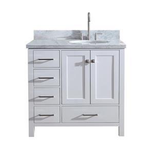 """Meuble-lavabo simple, évier ovale à droite, 37"""", blanc"""