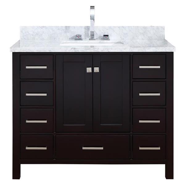 ARIEL Single Rectangle Sink Vanity - 9 Drawers - 43 in. - Espresso