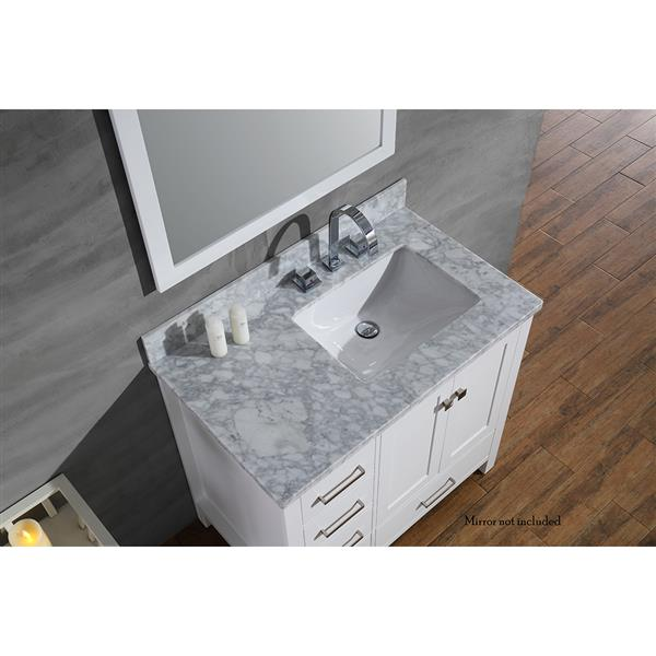 """Meuble-lavabo simple, évier à droite, 37"""", blanc"""