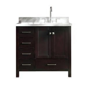 """Meuble-lavabo simple, évier ovale à droite, 37"""", espresso"""