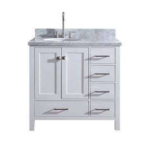 """Meuble-lavabo simple, évier ovale à gauche, 37"""", blanc"""
