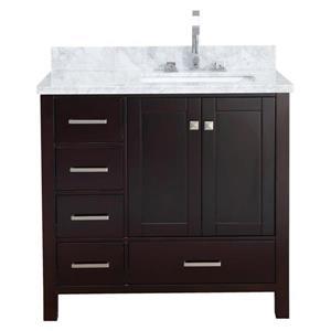 """Meuble-lavabo simple, évier à droite, 37"""", espresso"""