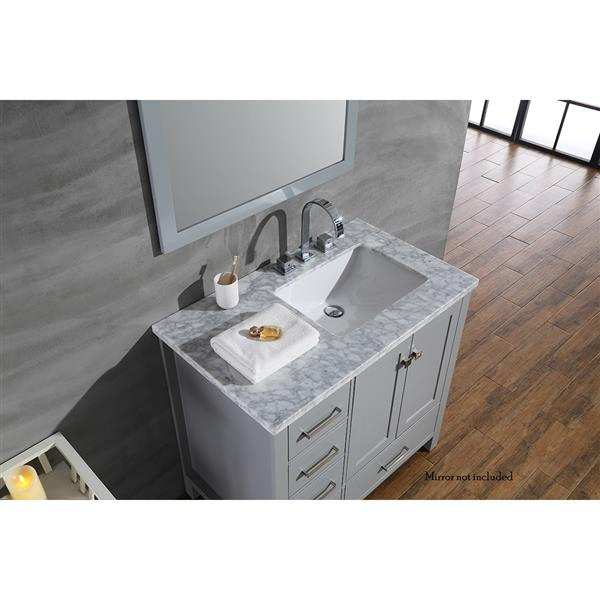 ARIEL Right Offset Single Sink Vanity - 37 in. - Grey