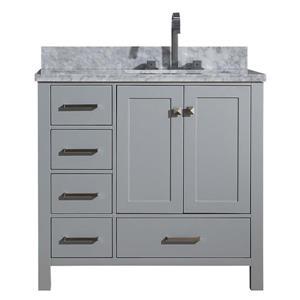 """Meuble-lavabo simple, évier à droite, 37"""", gris"""