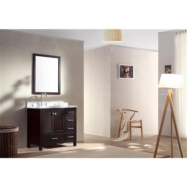 """Meuble-lavabo simple, évier ovale à gauche, 37"""", espresso"""