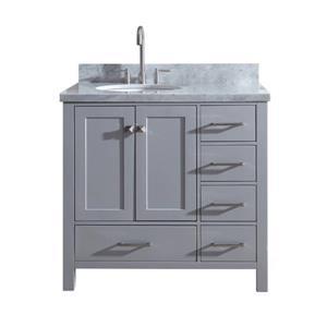 ARIEL Left Offset Single Oval Sink Vanity - 37 in. - Grey
