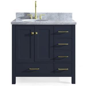 """Meuble-lavabo simple, évier ovale à gauche, 37"""", bleu"""