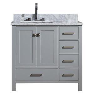 Left Offset Single Rectangle Sink Vanity - 37 in. - Grey