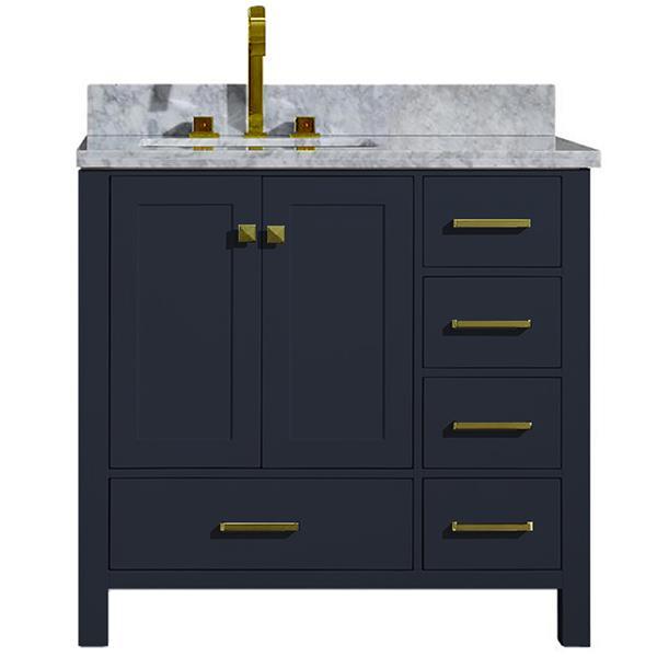 ARIEL Left Offset Single Rectangle Sink Vanity - 37 in. - Blue