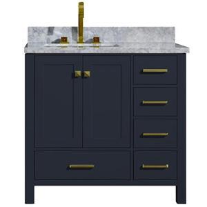 Left Offset Single Rectangle Sink Vanity - 37 in. - Blue