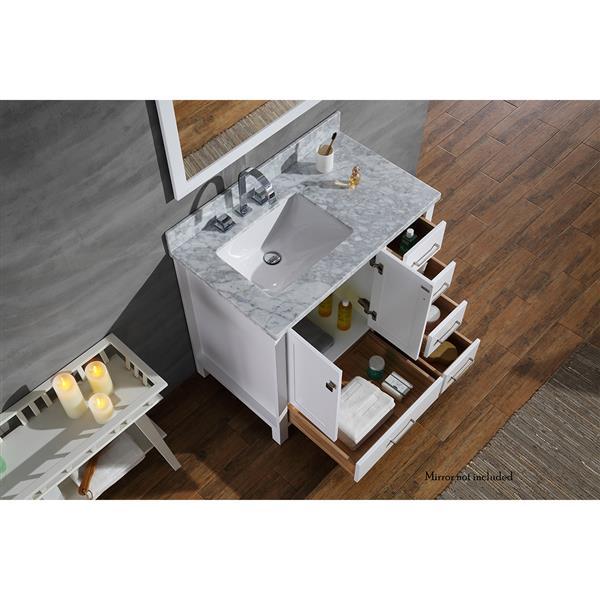 ARIEL Left Offset Single Rectangle Sink Vanity - 37 in. - White