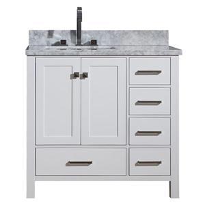 Left Offset Single Rectangle Sink Vanity - 37 in. - White
