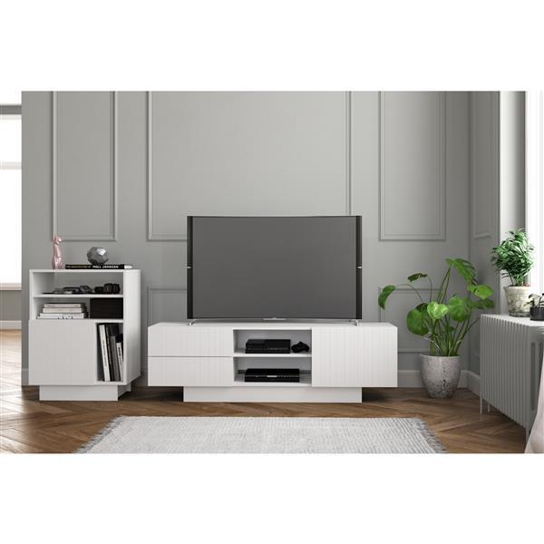 Nexera Marble Entertainment Set/60-in TV Stand - White - 2-Piece