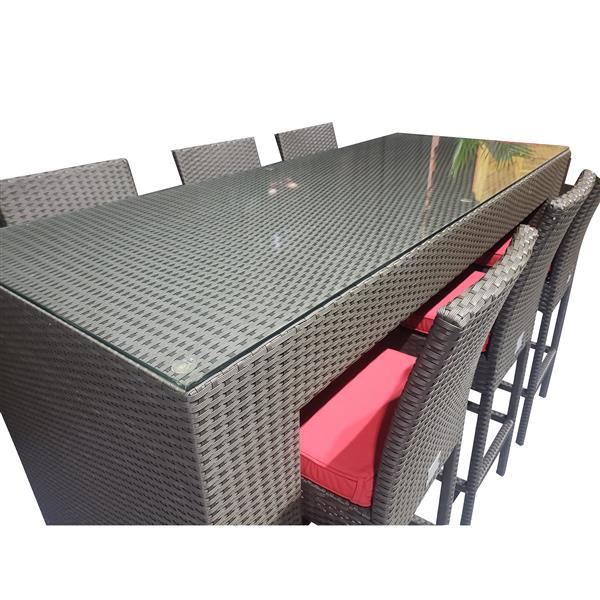 Wd Patio WD Patio Outdoor Bar - Wicker/Aluminum - Red WD-LUX5403-BR