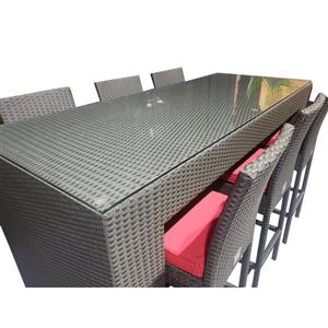 WD Patio Outdoor Bar - Wicker/Aluminum - Red