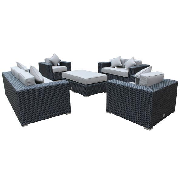 Wd Patio WD Patio Venetian Outdoor Patio Set - Wicker/Aluminum - Graphite Grey WD-VEN48030-BL