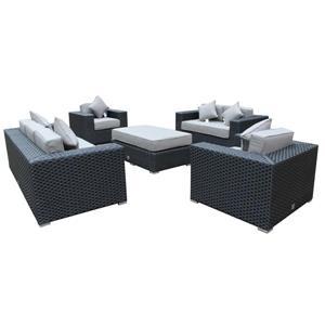 WD Patio Venetian Outdoor Patio Set - Wicker/Aluminum - Graphite Grey