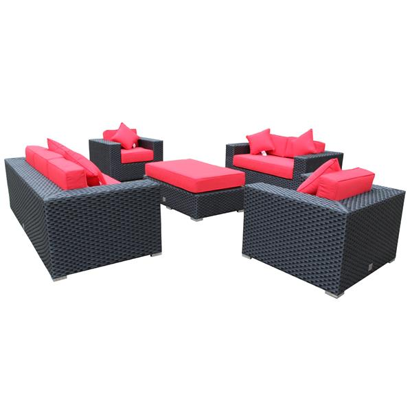 Wd Patio WD Patio Venetian Outdoor Patio Set - Wicker/Aluminum -  Jockey Red WD-VEN5403-BL