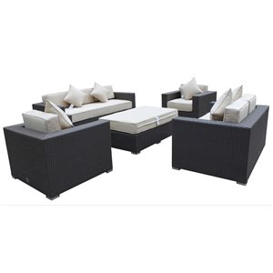 Mirage Outdoor Patio Set - Wicker/Aluminum - Antique Beige