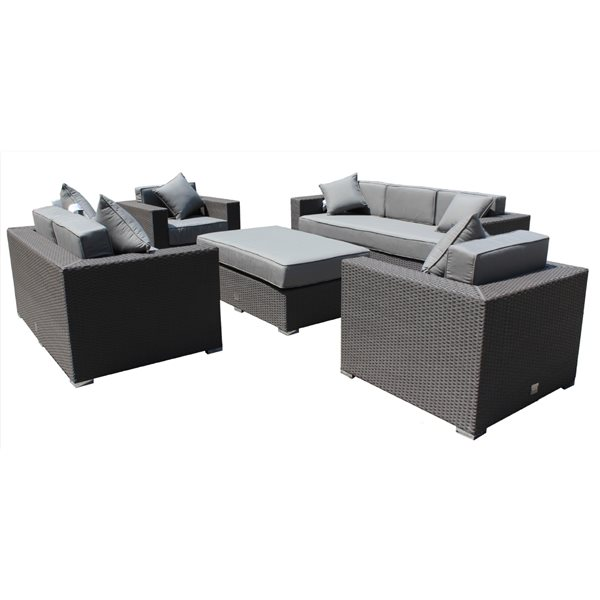WD Patio Mirage Outdoor Patio Set - Wicker/Aluminum - Graphite Grey