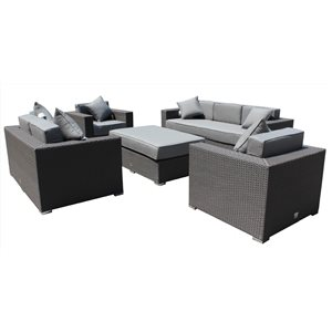 Mirage Outdoor Patio Set - Wicker/Aluminum - Graphite Grey