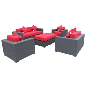 Mirage Outdoor Patio Set - Wicker/Aluminum - Jockey Red