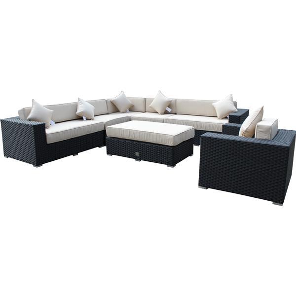 Wd Patio WD Patio Bellagio Outdoor Patio Set - Wicker/Aluminum - Antique Beige WD-BEL5422-BL