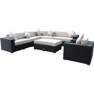WD Patio Bellagio Outdoor Patio Set - Wicker/Aluminum - Antique Beige