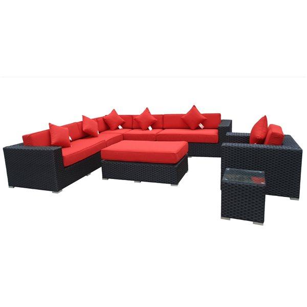 Wd Patio WD Patio Bellagio Outdoor Patio Set - Wicker/Aluminum - Red WD-BEL5403-BL