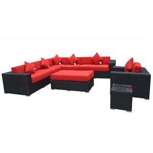 Bellagio Outdoor Patio Set - Wicker/Aluminum - Red