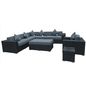 WD Patio Bellagio Outdoor Patio Set - Wicker/Aluminum - Graphite Grey
