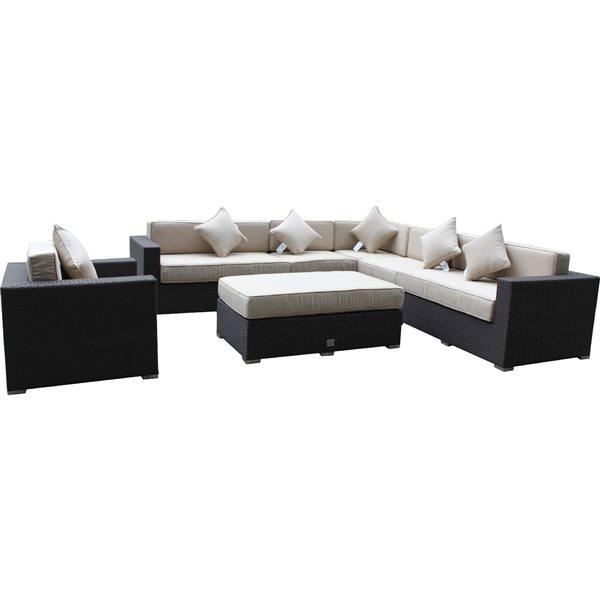 Wd Patio WD Patio Caesar Outdoor Patio Set - Wicker/Aluminum - Antique Beige WD-CAE5422-BR