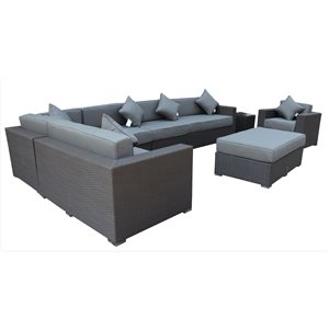 Caesar Outdoor Patio Set - Wicker/Aluminum - Graphite Grey