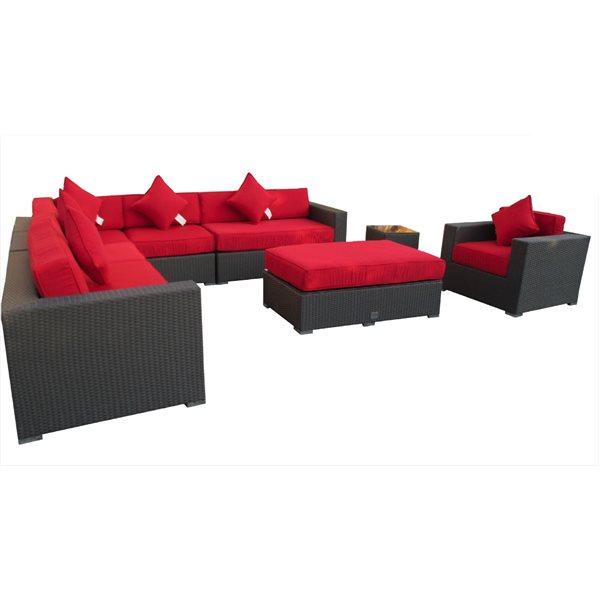 WD Patio Ceaser Outdoor Conversation Set - Wicker - 8 Pieces - Red